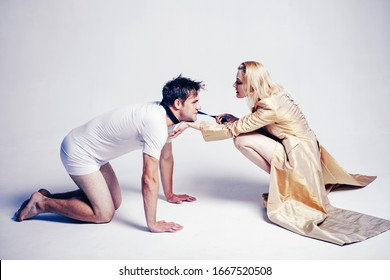 Man doggystyle concept. Dominant woman. Rape and Sexual game for man