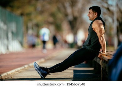 Man doing dips. Athlete doing dips on a bench.
