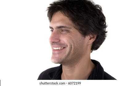 man doing face expression shot over white background