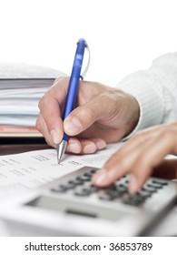 Man doing financial calculations.