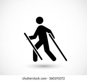 Man doing nordic walking icon