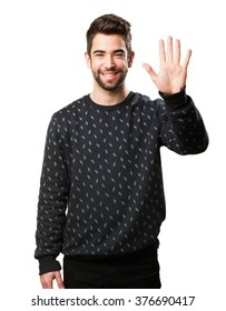 man doing a number five with fingers