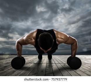 Man doing pushups outdoor