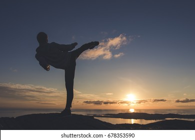 Man doing TaeKwonDo or Karate kick in the sunset. Martial art concept.