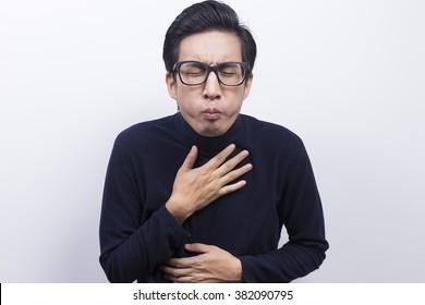 Man doing vomiting gesture