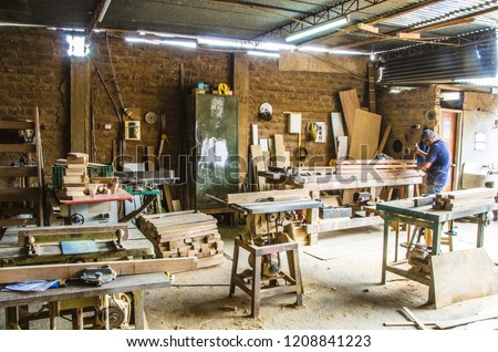 Man Doing Woodwork Carpentry Carpentry Workshop Stock Photo Edit