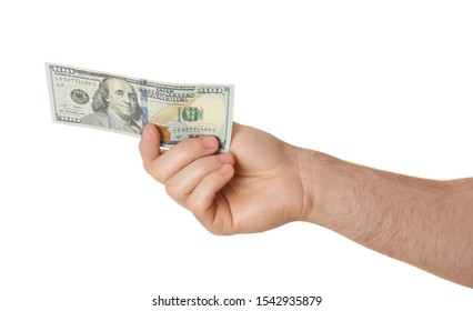 Man with dollar bill on white background, closeup