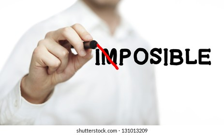man drawing imposible on white  background