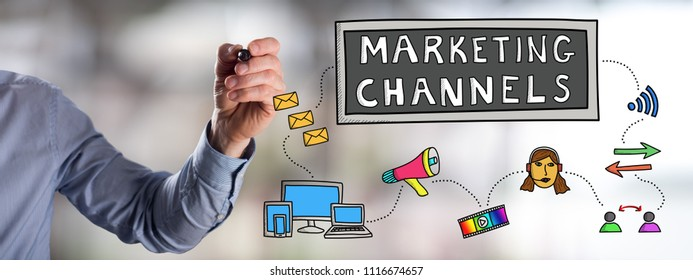 Man drawing a marketing channels concept