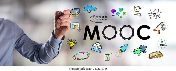 Man drawing a mooc concept