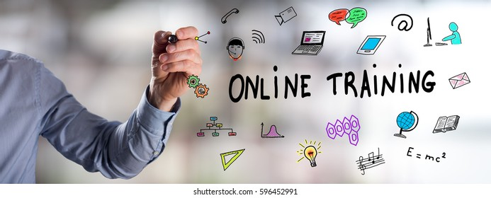 Man drawing an online training concept