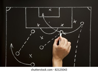 Man drawing a soccer game strategy with white chalk on a blackboard.