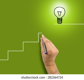man drawing a staircase to success in business.All screen content is designed by us and not copyrighted by others and created with digitizing tablet and image editor