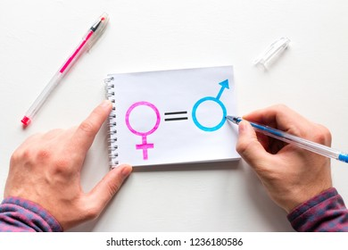 man draws female gender symbol is equal to the male