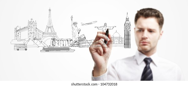 man draws outline a architectural buildings