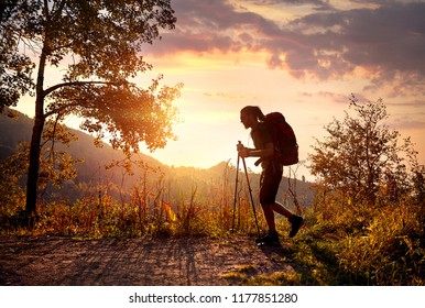 Man with dreadlocks and backpack in silhouette hike in mountains at sunset orange sky background