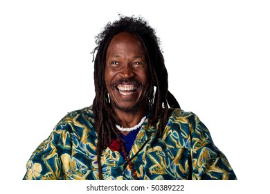 Man with dreadlocks laughing out loud, isolated on white