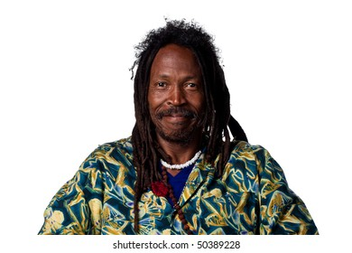 Man with dreadlocks looking happy, isolated on white