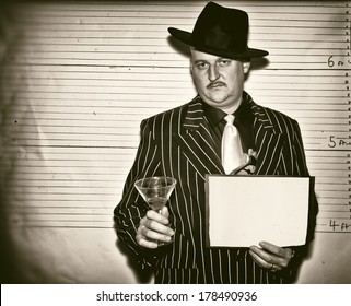 Man dressed as a 1920s ganster in police line up