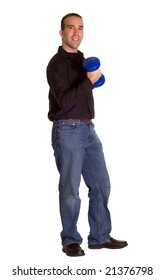A man dressed in casual clothing lifting dumbbells