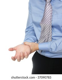 Man dressed in formal wear having a wrist ache, sign of repetitive stress injury