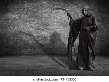 A man dressed as the grim Reaper. Poster for Halloween with space for your text.