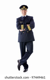 A man dressed as a pilot on a white background