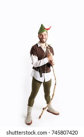 Man dressed up as Robin Hood for Halloween