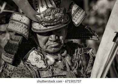 Man dressed in Samurai armour at a festival in Kasama City, Ibaraki Prefecture, Japan, taken on 3, November, 2009.