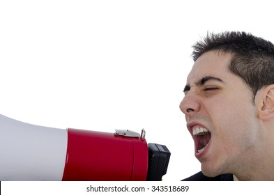 Man dressed in suit and tie shouting through megaphone over white background.