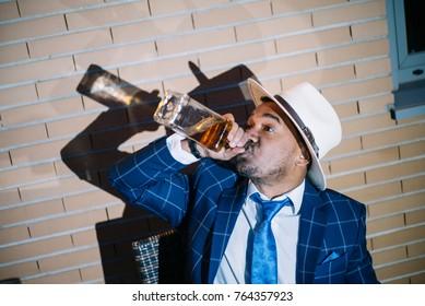 man drink alcohol