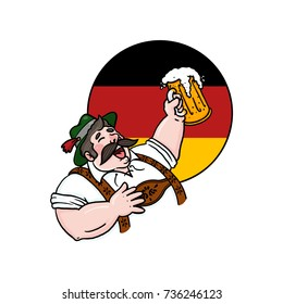 Man drinking beer over a German flag