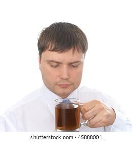 Man drinking tea. Isolated on white