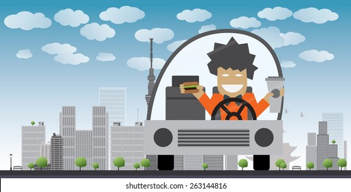 Man drive and eat in a car. Safety concept