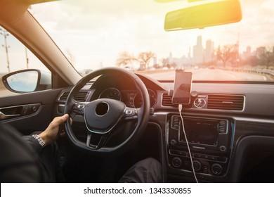 man driving in the modern car. Driving a car