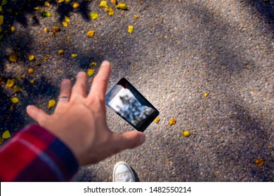 Man dropping his smartphone ad trying to reach it. Phone screen is cracked and needs repairing. Great photo to advertise smartphone repair shop, screen repair or water damage.