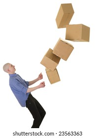 Man drops boxes on a white background