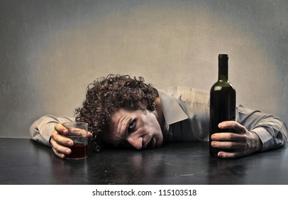 Man drunk with red wine