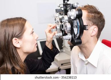 man during an eye exam