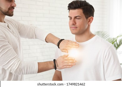 Man during healing session in therapy room