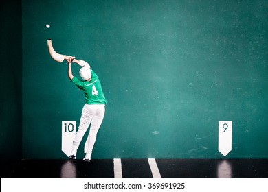 Man during a Jai-alai game, typical sport in Basque Country, Spain and some countries of Latin America