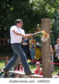 Man during a lumberjack contest