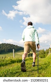 Man during a nordic walking workout session in green nature