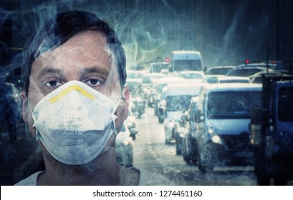 Man with dust mask on a busy street