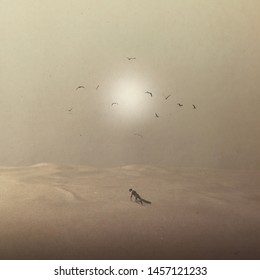 man dying in the desert and vultures flying over him waiting