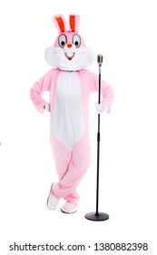 Man in a easter bunny costume with retro microphone, sings, have fun on white background. Funny hare or rabbit singer smiles