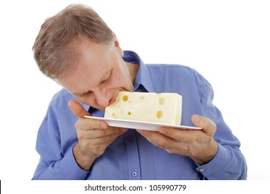 Man eating cheese