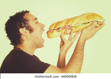 Man eating large sandwich
