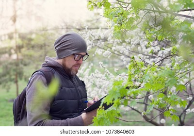 Man ecologist conducts research during the flowering of trees. Ecological investigation of the environment. Agronomist - breeder in the garden.