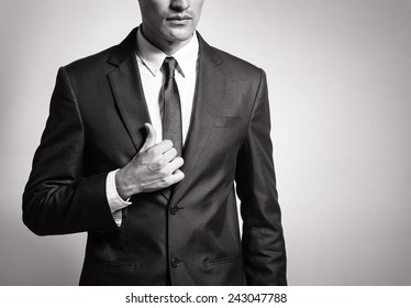 Man in elegant black suit
